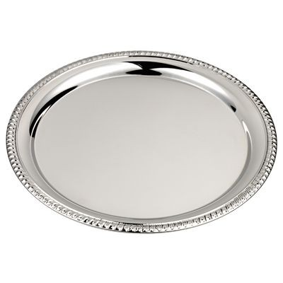 Picture of ROUND SHINY SILVER METAL TRAY with Decorative Edge