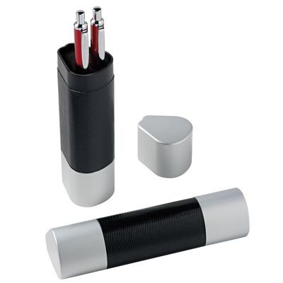 Picture of TRIANGULAR PEN PRESENTATION BOX in Black Leather