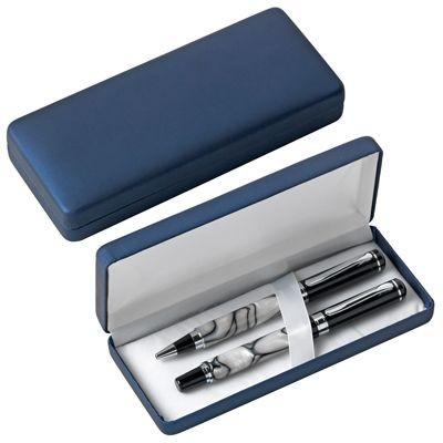Picture of PEN PRESENTATION BOX in Metallic Blue Rubber