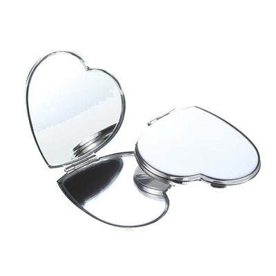 Picture of HEART SHAPE SILVER PLATED METAL COMPACT HANDBAG MIRROR
