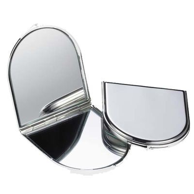 Picture of SILVER PLATED METAL ARCH SHAPE DOUBLE COMPACT HANDBAG MIRROR