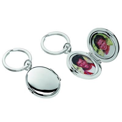 Picture of OVAL DOUBLE PHOTO FRAME SILVER METAL KEYRING