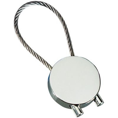 Picture of ROUND CABLE KEYRING in Polished Silver Metal Finish