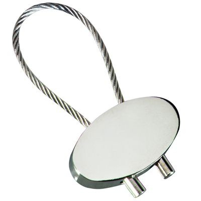 Picture of OVAL CABLE KEYRING in Polished Silver Metal Finish
