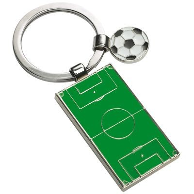 Picture of FOOTBALL & PITCH METAL KEYRING in Green