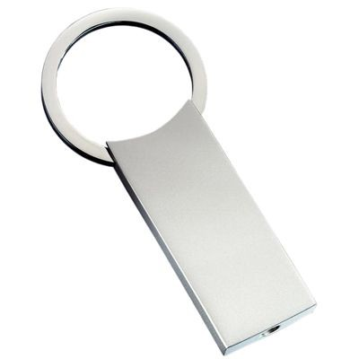 Picture of CLASSIC LARGE RECTANGULAR MATT SILVER METAL KEYRING with Round Ring