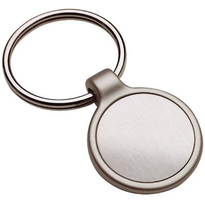 Picture of ROUND MATT SILVER METAL INLAY KEYRING