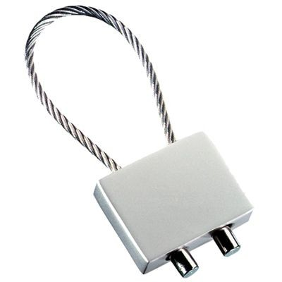 Picture of RECTANGULAR CABLE KEYRING in Matt Silver Metal