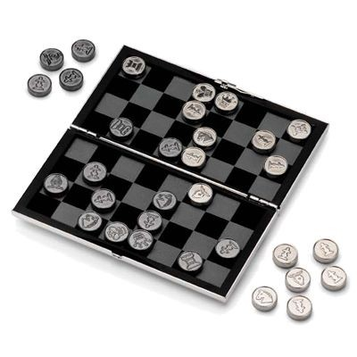 Picture of SILVER PLATED METAL TRAVEL CHESS AND DRAUGHTS SET