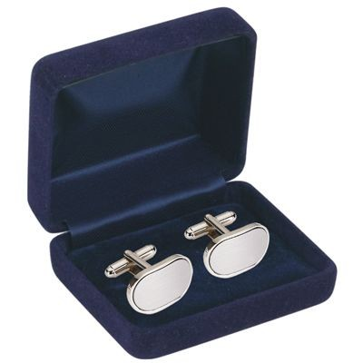 Picture of RECTANGULAR BRUSHED SILVER METAL CUFF LINKS in Navy Blue Velvet Box
