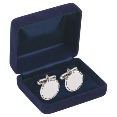 Picture of ROUND BRUSHED SILVER METAL CUFF LINKS in Navy Blue Velvet Box