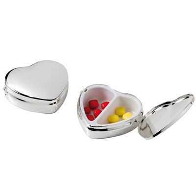 Picture of HEART SHAPE SILVER PLATED METAL PILL BOX