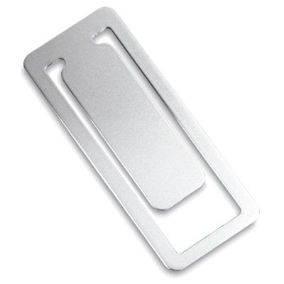 Picture of RECTANGULAR SILVER METAL CLIP BOOKMARK