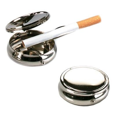 Picture of TRAVEL ASH TRAY in Polished Silver Metal