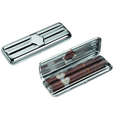 Picture of TRIPLE FINE SILVER PLATED METAL CIGAR CASE