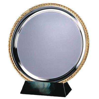 Picture of 15CM SILVER METAL SALVER with Gold Ribbed Edge