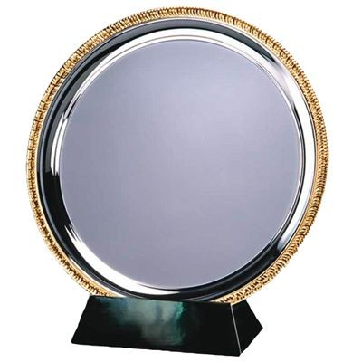 Picture of 20CM SILVER METAL SALVER with Gold Ribbed Edge