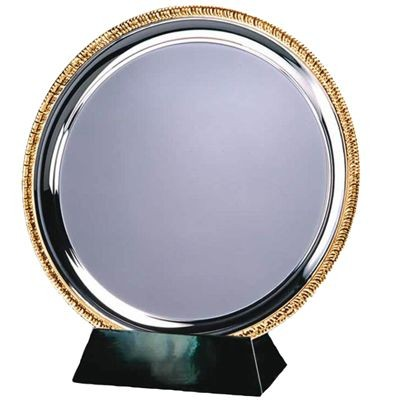 Picture of 25CM SILVER METAL SALVER with Gold Ribbed Edge