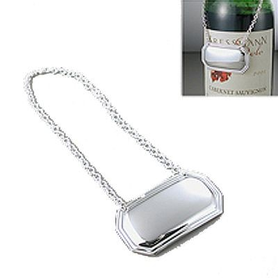 Picture of RECTANGULAR SILVER PLATED METAL DECANTER LABEL