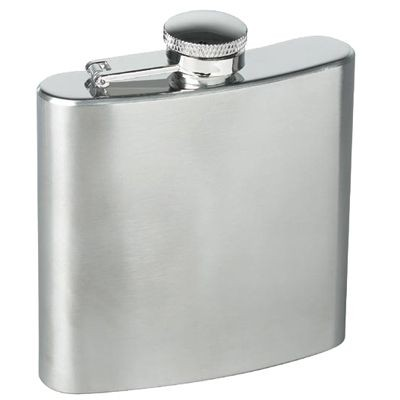 Picture of 6OZ SILVER STAINLESS STEEL METAL  HIP FLASK