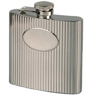 Picture of RIBBED 6OZ SILVER STAINLESS STEEL METAL HIP FLASK with Oval Panel