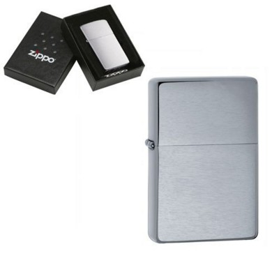 Picture of GENUINE ZIPPO LIGHTER in Vintage Brushed Silver Chrome Finish