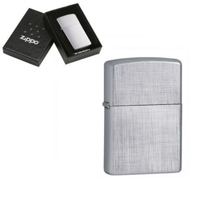 Picture of GENUINE ZIPPO LIGHTER in Silver Chrome Linen Weave Brushed Finish