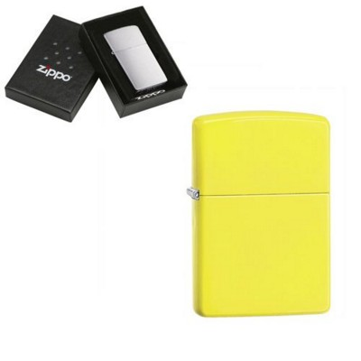 Picture of GENUINE ZIPPO LIGHTER in Neon Fluorescent Yellow