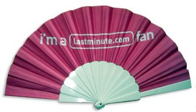 Picture of FABRIC CONCERTINA HAND FAN with Plastic Handle