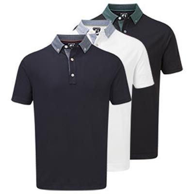 Picture of FOOTJOY STRECTCH PIQUE with Woven Button Downcollar