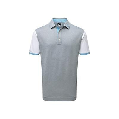 Picture of FOOTJOY STRETCH PIQUE COLOUR CUBE BLOCK AND CONTRAST TRIM ATHLETIC FIT
