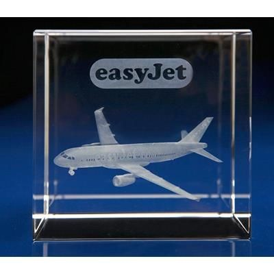 Picture of 3D ENGRAVED OPTICAL CRYSTAL CUBE AWARD AVAILABLE in 4 Sizes: 50mm