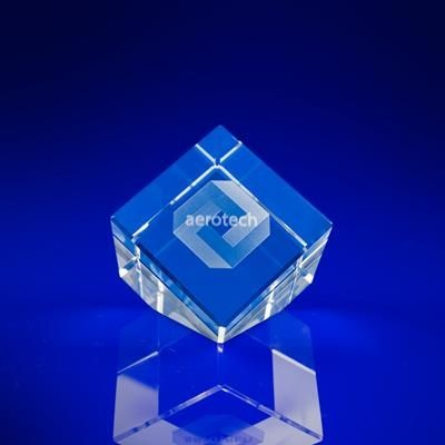 Picture of CUT CORNER CUBE SLANT in Crystal Size: 50mm
