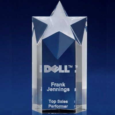 Picture of CRYSTAL GLASS STAR TOWER-COLUMN AWARD OR TROPHY AWARD