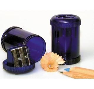 Picture of CYLINDER DOUBLE PENCIL SHARPENER in Translucent Blue