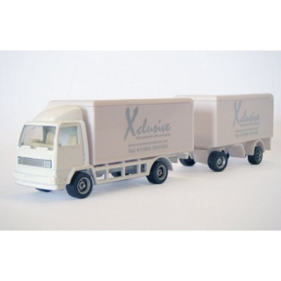 Picture of DELIVERY TRUCK & DRAWBAR TRAILER MODEL in White