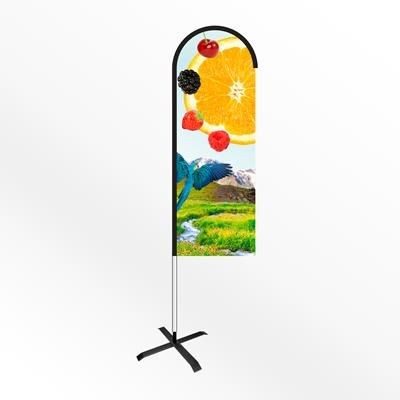Picture of SMALL BOW FEATHER FLAG BANNER with Cross Base