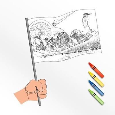 Picture of HAND WAVING COLOURING FLAG