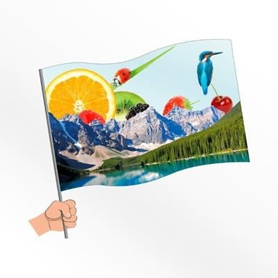 Picture of SMALL SYNTHETIC PAPER HAND WAVING FLAG
