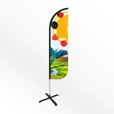 Picture of LARGE ROUND FEATHER FLAG BANNER with Cross Base