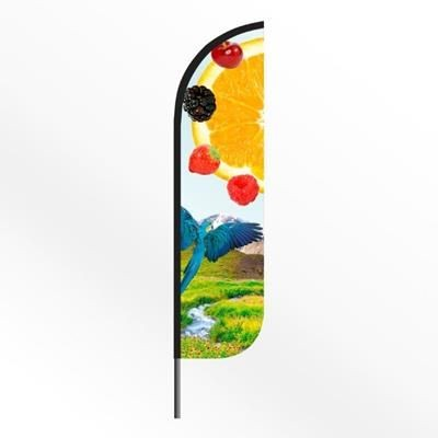 Picture of LARGE ROUND FEATHER FLAG BANNER with Spiked Base