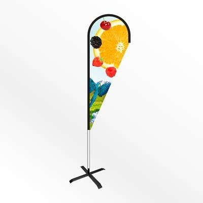 Picture of LARGE TEAR DROP FEATHER FLAG BANNER with Cross Base