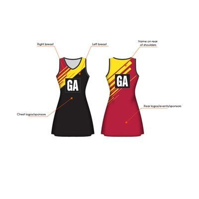 Picture of FULLY SUBLIMATED 240G BESPOKE NETBALL DRESS