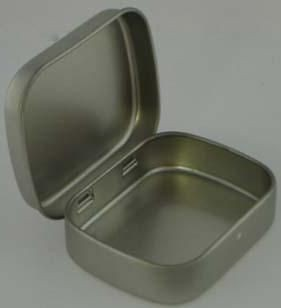 Picture of SMALL SWEETS TIN with Hinged Lid in Matt Silver