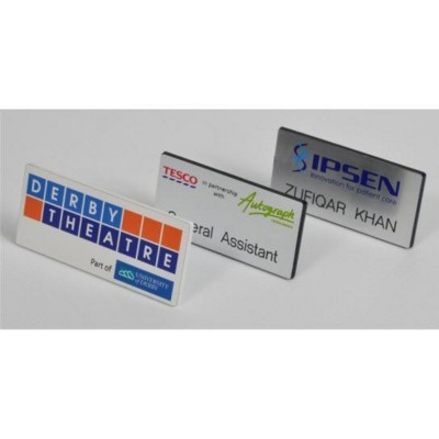 Picture of PRINTED & ENGRAVED NAME BADGE in Silver