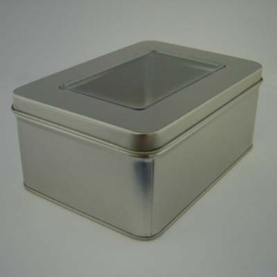 Picture of RECTANGULAR TIN with Window Lid in Matt Silver
