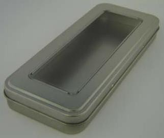 Picture of PENCIL TIN with Window Lid in Matt Silver