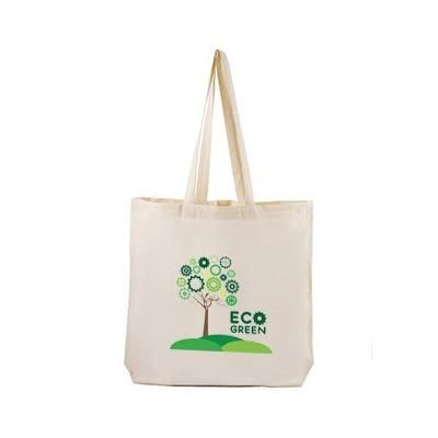 Picture of 100% NATURAL ECO FRIENDLY COTTON SHOPPER TOTE BAG with Outside Printed Label