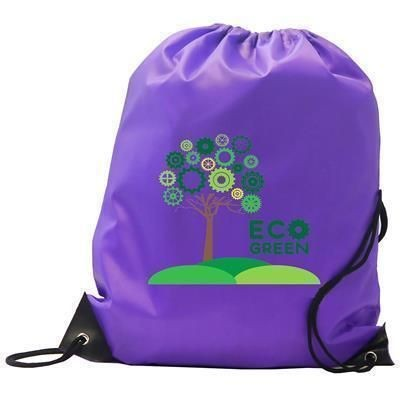 Picture of BURTON CHILDRENS RECYCLABLE 210D PURPLE POLYESTER GYM SACK DRAWSTRING BAG