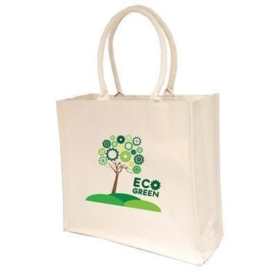 Picture of 10OZ LARGE NATURAL COTTON CANVAS SHOPPER TOTE BAG with Inside Lamination